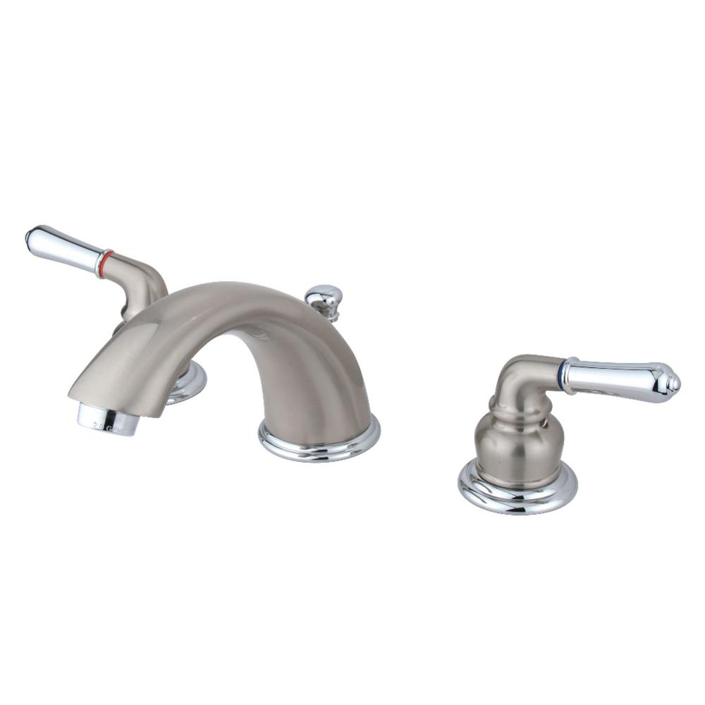 Kingston Br Magellan 8 In Widespread 2 Handle Bathroom Faucet Chrome And Brushed Nickel