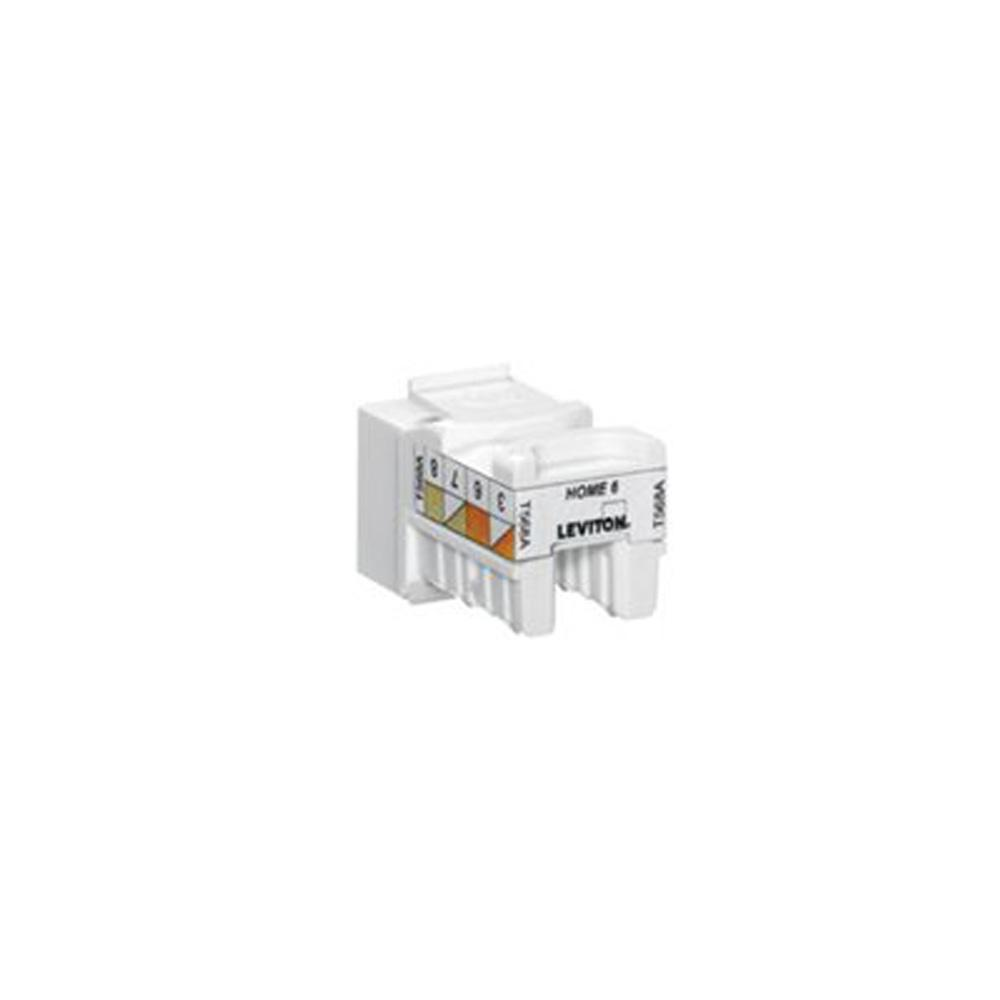 Cat6 B Wiring Diagram And Ebooks Cat 6 8 Prong Leviton Quickport Snap In T568a Connector Black Rh Homedepot Com Rj45