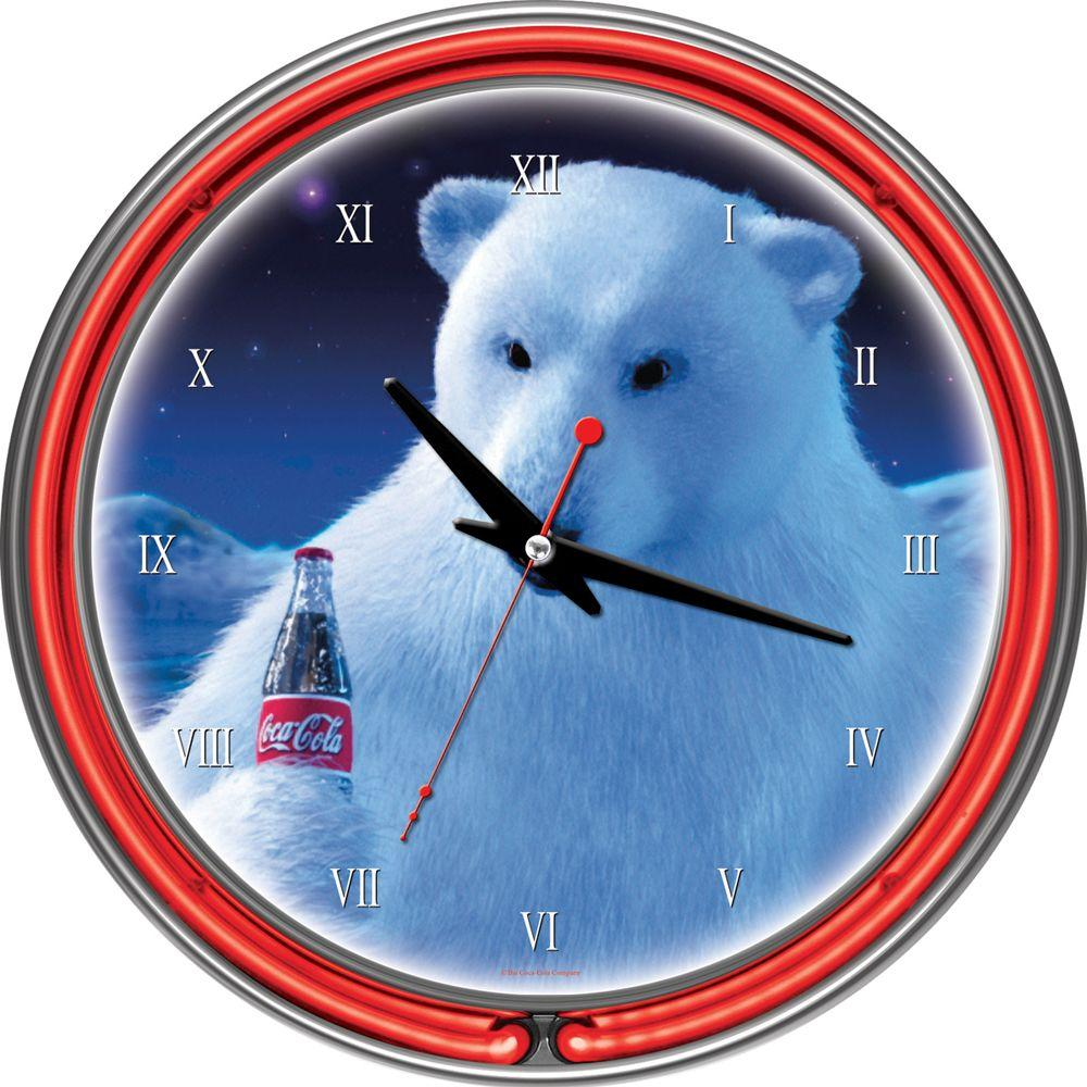Trademark Global 14 in. Coca-Cola Polar Bear with Coke Bottle Neon Wall Clock