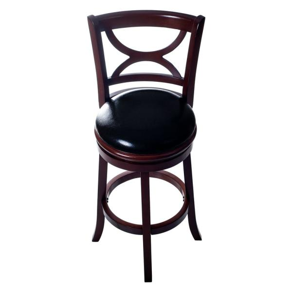 Lavish Home 42.5 in. Dark Wood Curved Back Wooden Swivel Bar Stool