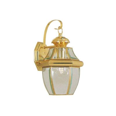 1-Light Bright Brass Outdoor Wall Lantern Sconce with Clear Beveled Glass