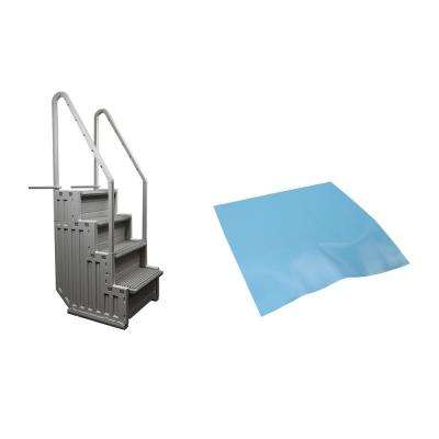 Ladder Step System Entry for Above Ground Swimming Pool with Liner Pad