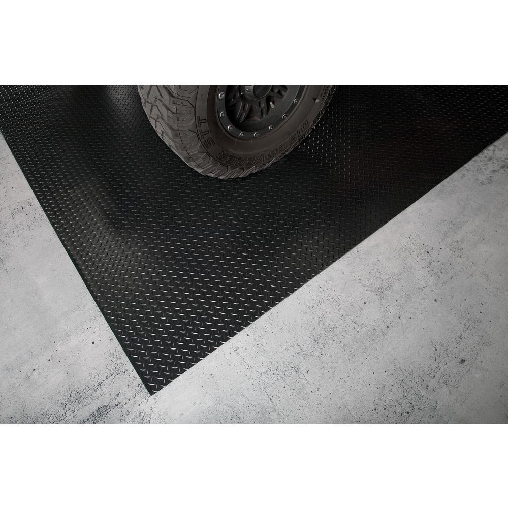 G Floor Diamond Tread 8 5 Ft X 22 Ft Midnight Black Commercial Grade Vinyl Garage Flooring Cover And Protector Gf75dt8622mb The Home Depot