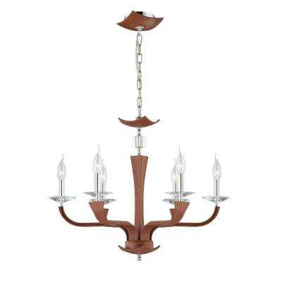 Pella Collection 6-Light Chrome and Brown Chandelier