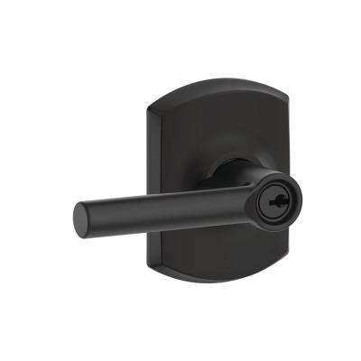 Broadway Matte Black Keyed Entry Door Lever with Greenwich Trim