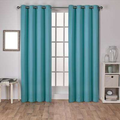 Sateen 52 in. W x 84 in. L Woven Blackout Grommet Top Curtain Panel in Teal (2 Panels)