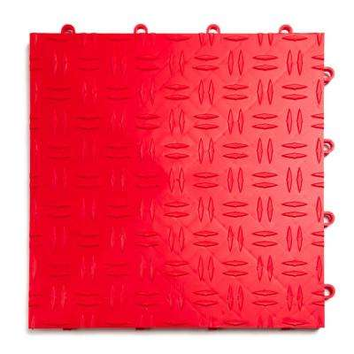 12 in. x 12 in. Diamond Red Modular Tile Garage Flooring (24-Pack)
