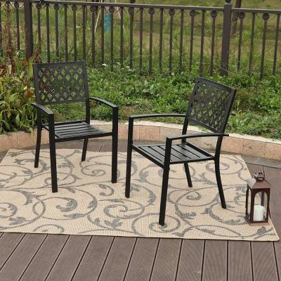 Stacking Wrought Iron Outdoor Patio Dining Chair (2-Pack)