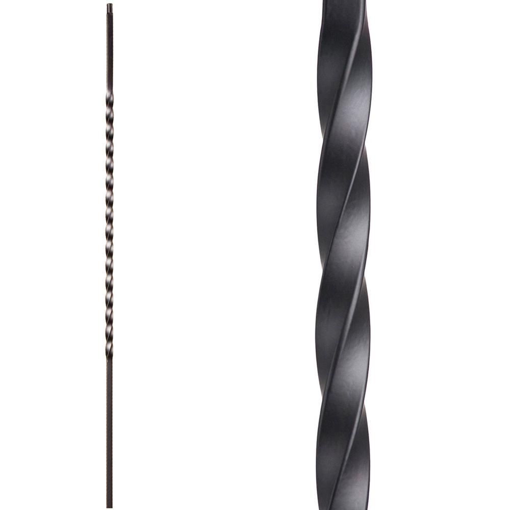 44 in Satin Black Single Twist Hollow Iron Baluster x 1//2 in