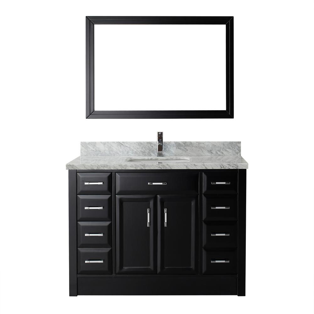 Studio Bathe Calais 48 in. W x 22 in. D Vanity in Espresso with Marble Vanity Top in Gray with White Basin and Mirror