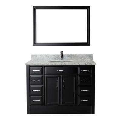 Calais 48 in. W x 22 in. D Vanity in Espresso with Marble Vanity Top in Gray with White Basin and Mirror