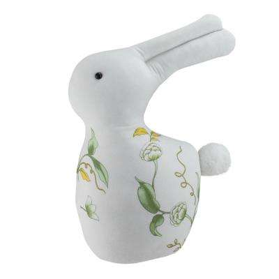 14 in. White Soft Green and Yellow Floral Rabbit Spring Decoration