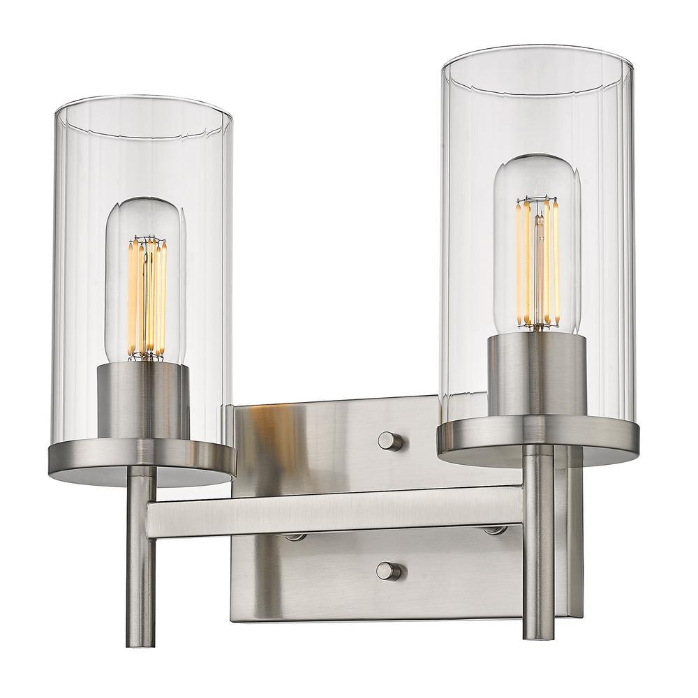 Winslett 8 in. 2-Light Pewter Vanity Light