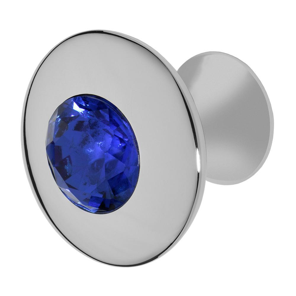 Felicia 1-1/4 in. Chrome with Dark Blue Crystal Cabinet Knob