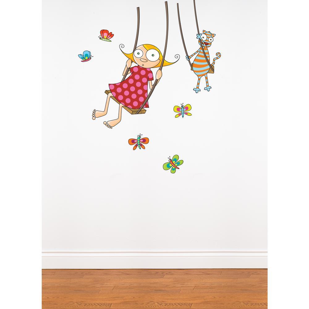 "(43 in x 49 in) Multi-Color ""Swing Girl"" Kids Wall Decal"