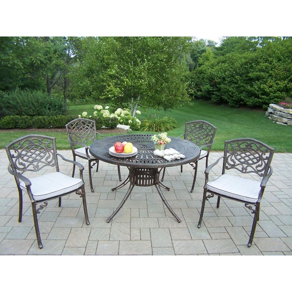 Oakland Living Sunray Patio 5-Piece Dining Set with Fully Welded Chairs and Cushions