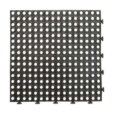 Extreme Black 18 in. x 18 in. Commercial Rubber Drainage Floor (8-Pack)