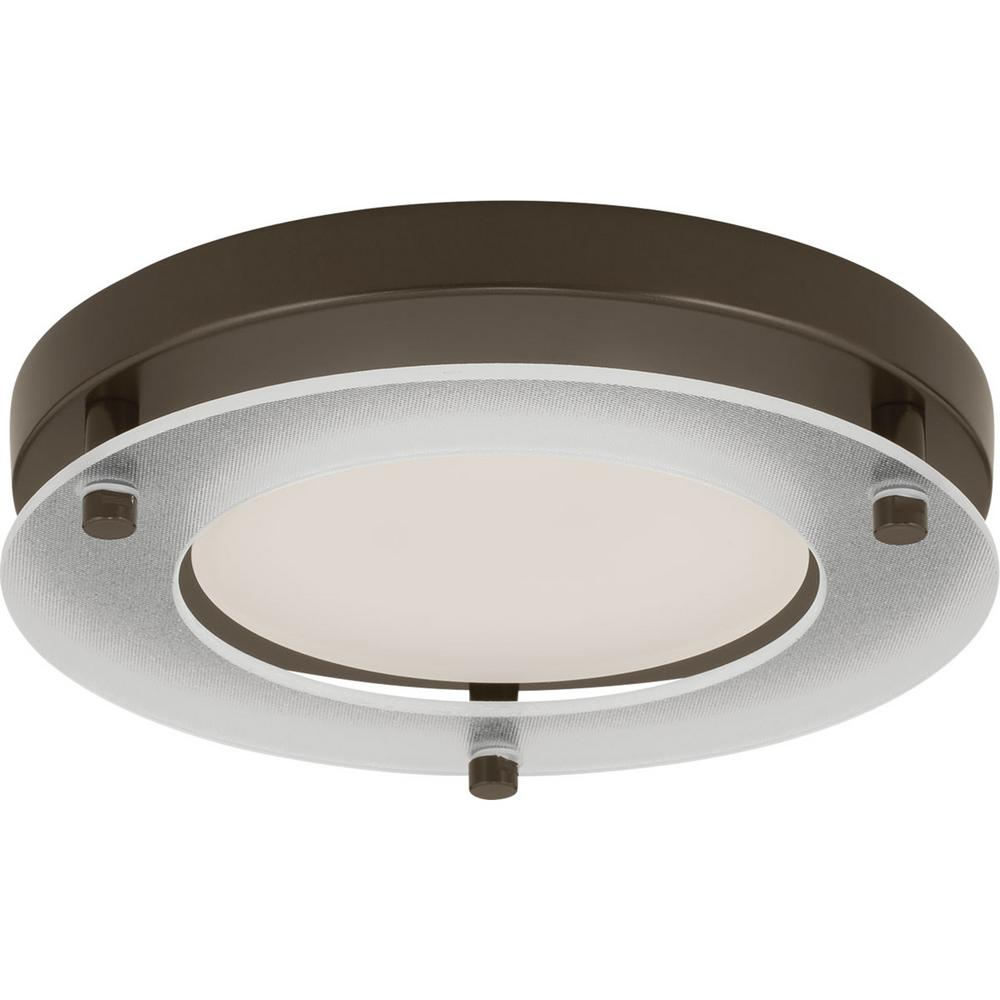 7.25 in. Flush Mount Collection 17-Watt Antique Bronze Integrated LED Flushmount