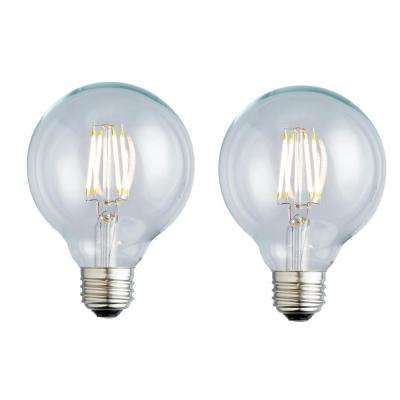 40W Equivalent Soft White G25 Clear Lens Nostalgic Globe Dimmable LED Light Bulb (2-Pack)