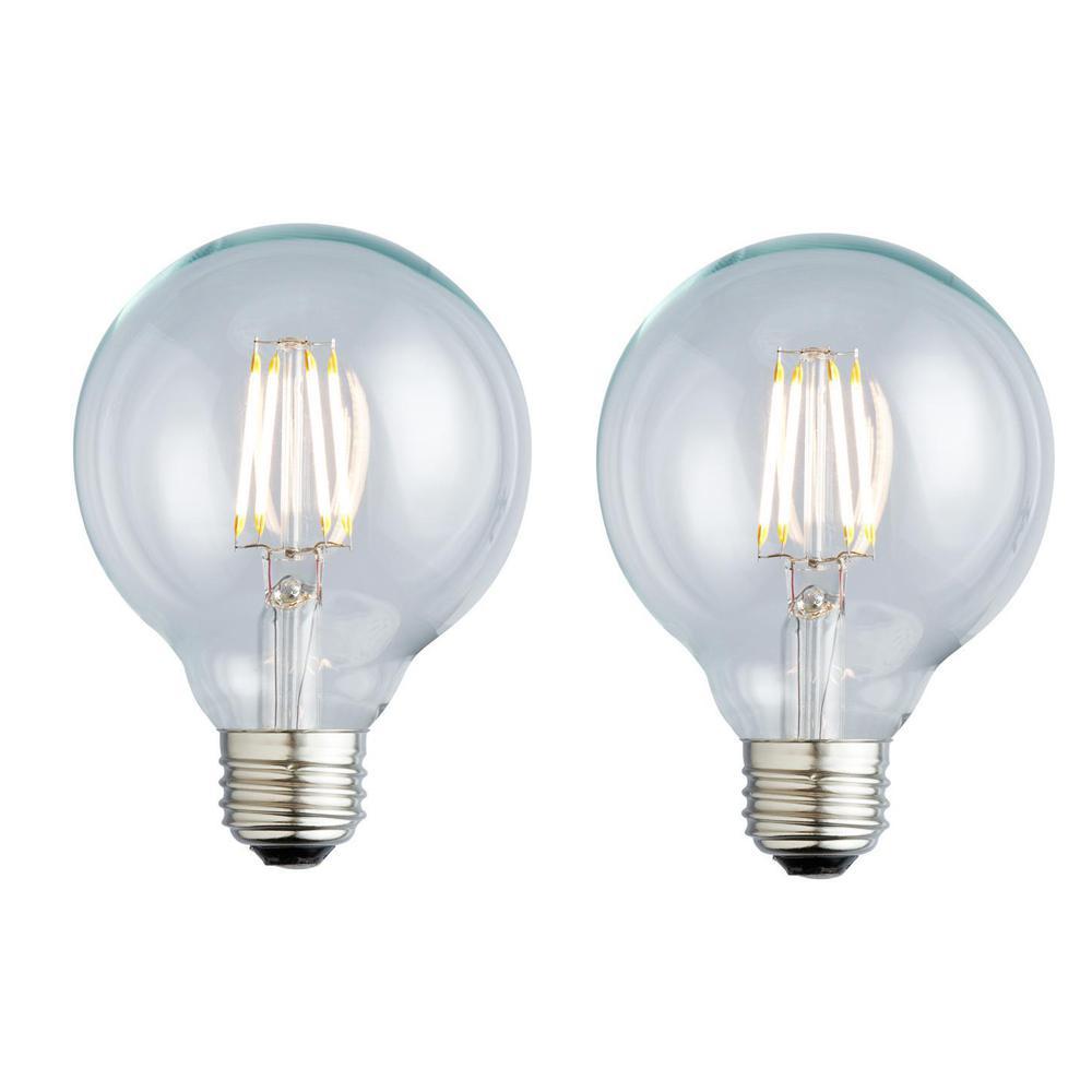 40W Equivalent Soft White G25 Clear Lens Nostalgic Globe Dimmable LED Light Bulb (2-Pack)