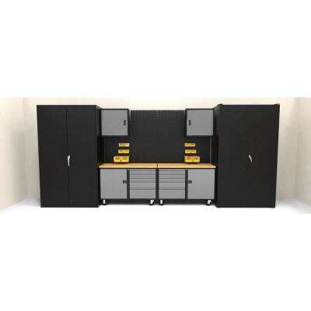 Suite F 84 in. H x 192 in. W x 24 in. D Steel Garage Cabinet Set in Black/Silver (16-Piece)