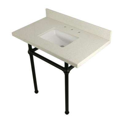 Square Washstand 36 in. Console Table in White Quartz with Metal Legs in Matte Black