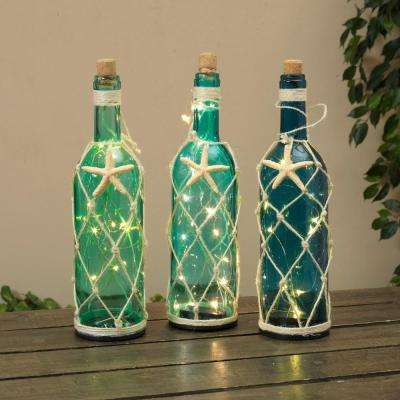 Battery-Operated Corked Glass Nautical Wine Bottles (Set of 3)