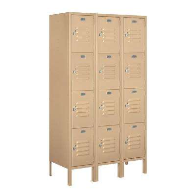 64000 Series 4-Tier 36 in. W x 66 in. H x 15 in. D Metal Locker Ready to Assemble in Tan