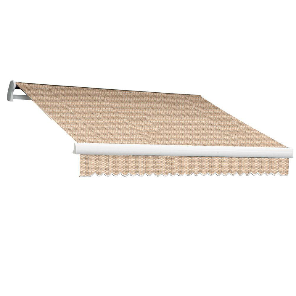 Beauty-Mark 8 ft. MAUI EX Model Left Motor Retractable Awning (84 in. Projection) in Linen Pin Stripe