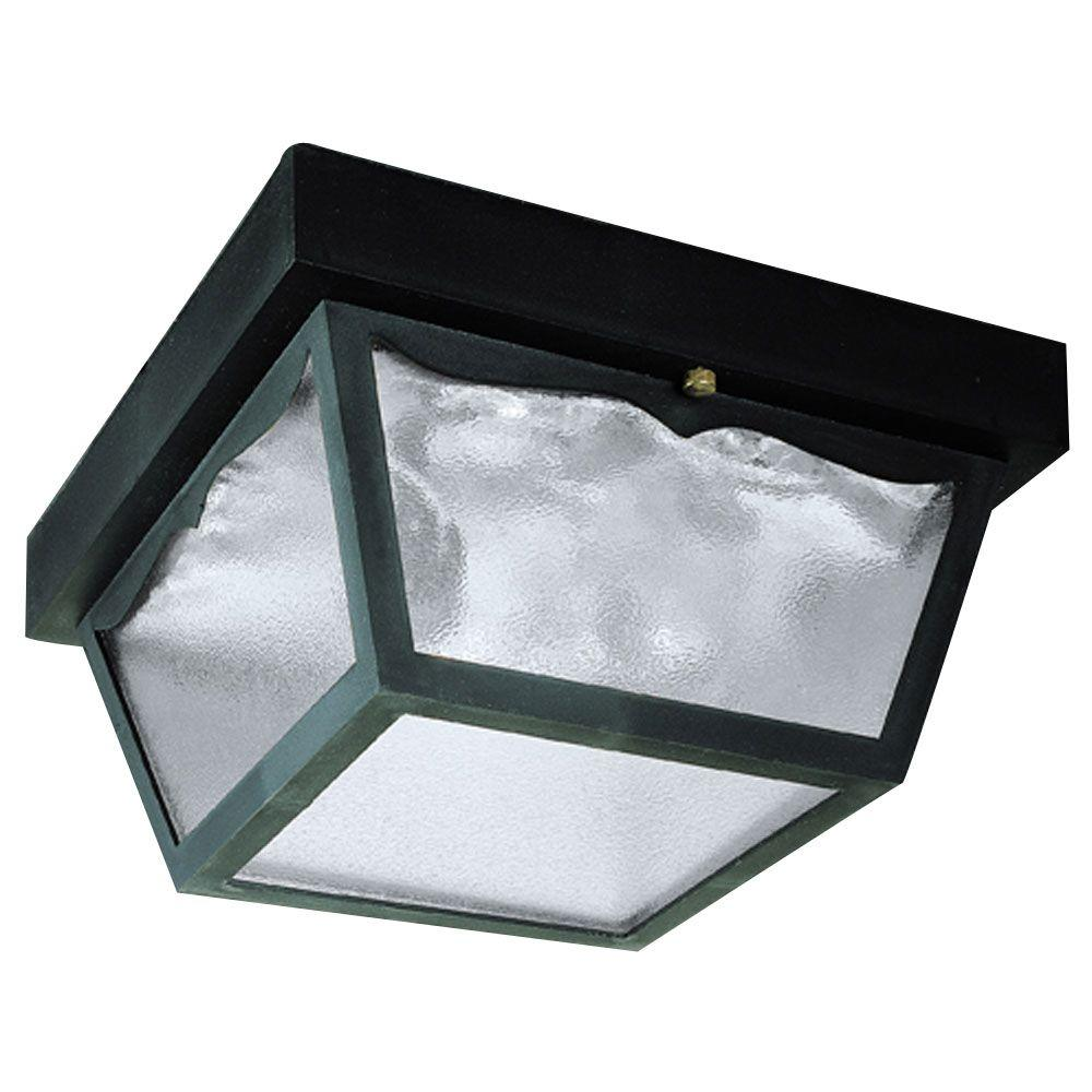 Westinghouse 2 Light Black On Hi Impact Polypropylene Flush Mount Exterior Fixture With Clear Textured Gl Panels