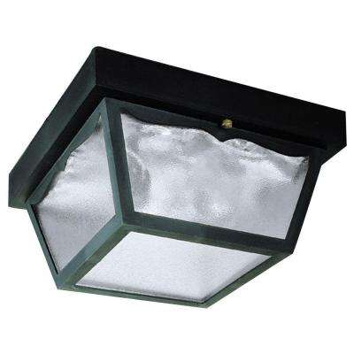 2-Light Black on Hi-Impact Polypropylene Flush-Mount Exterior Fixture with Clear Textured Glass Panels