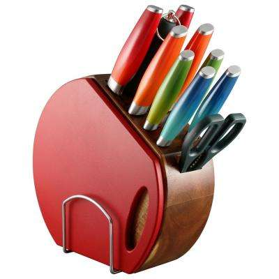 12-Piece Ombre Multicolor Cutlery Set with Knife Block