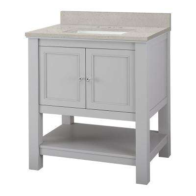 Gazette 31 in. W x 22 in. D Vanity Cabinet in Grey with Engineered Quartz Vanity Top in Stoneybrook with White Sink