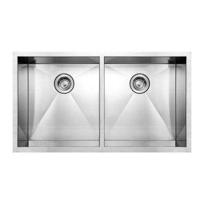 Noah's Collection Undermount Brushed Stainless Steel 37 in. 0-Hole Double Bowl Kitchen Sink