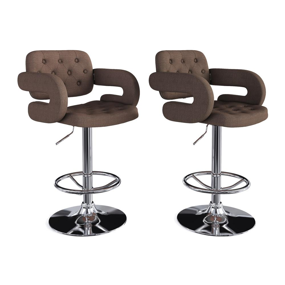 CorLiving Adjustable Height Tufted Blue Grey Fabric Bar Stool (Set Of 2)