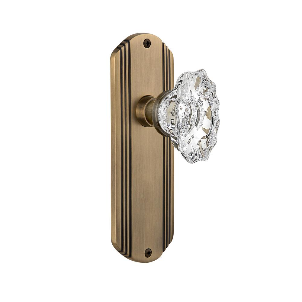 Deco Plate 2-3/4 in. Backset Antique Brass Privacy Chateau Door Knob