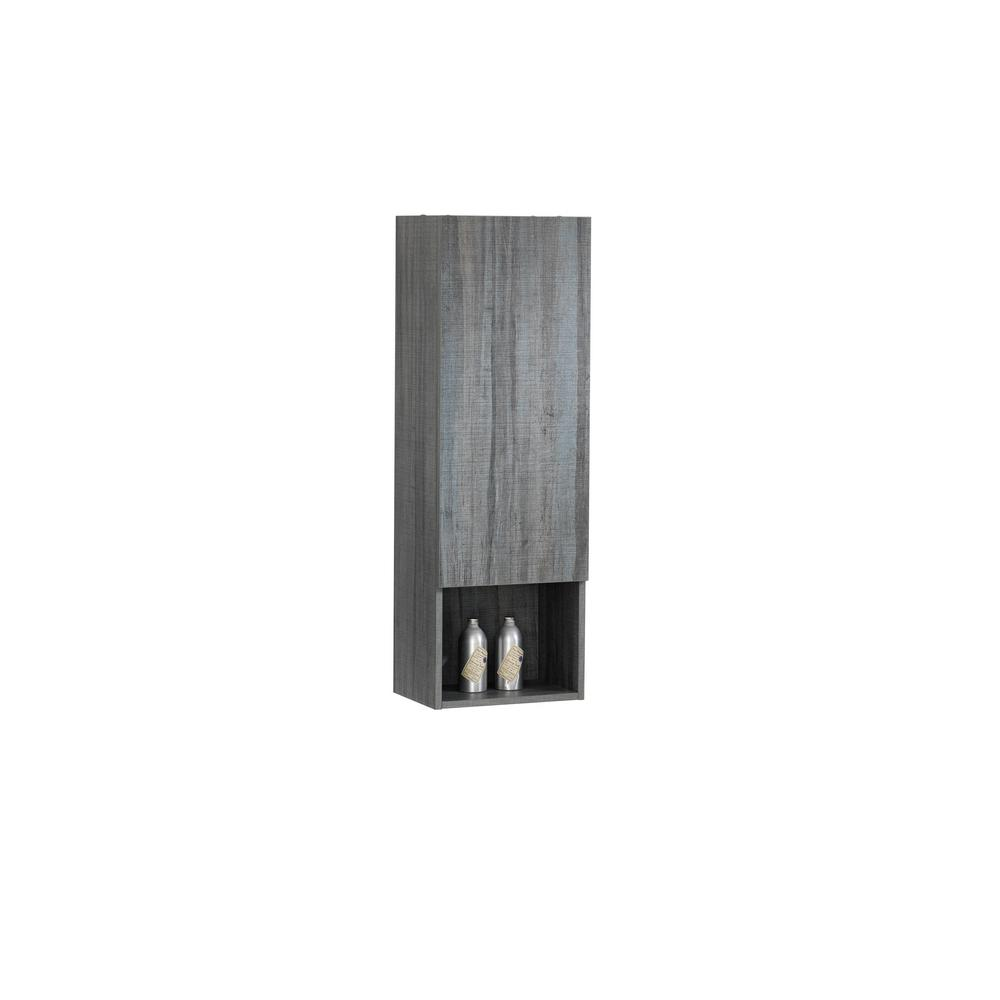 Dyconn Verona 15.75 in. W x 11.81 in. D x 47.24 in. H Wall-Mounted Bathroom Storage Side Cabinet in Gray