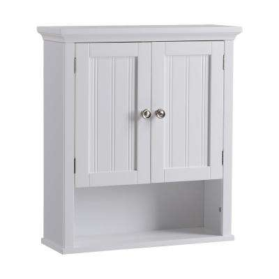 Newport Collection Wall Cabinet in White 22 in. W x 25 in. H x 7.9 in. D Ready to Assemble Over the Toilet Cabinet