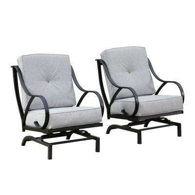 Rocking Metal Outdoor Lounge Chair with Gray Cushion (2-Pack)