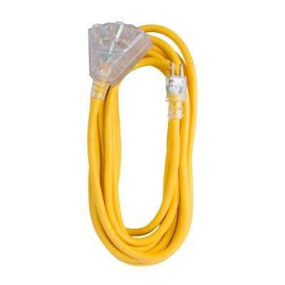 25 ft. 12/3 SJTW 15 Amp/125-Volt Outdoor Triple Tap Extension Cord, Yellow