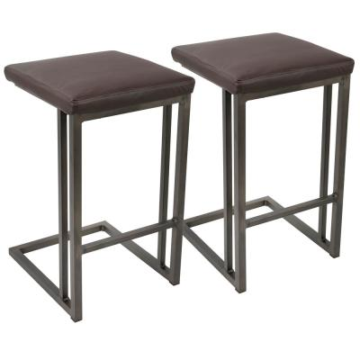 Roman Antique and Espresso Industrial Counter Stool (Set of 2)