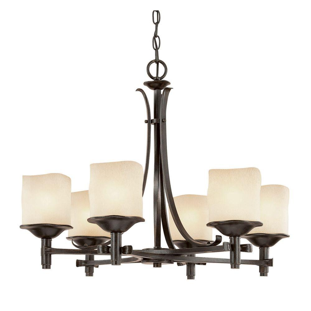 Filament Design 6-Light 22 in. Chandelier Raw Umber Finish Candlelight Glass-DISCONTINUED