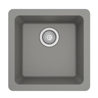 Undermount Quartz Composite 17 in. Bar Single Bowl Sink in Grey