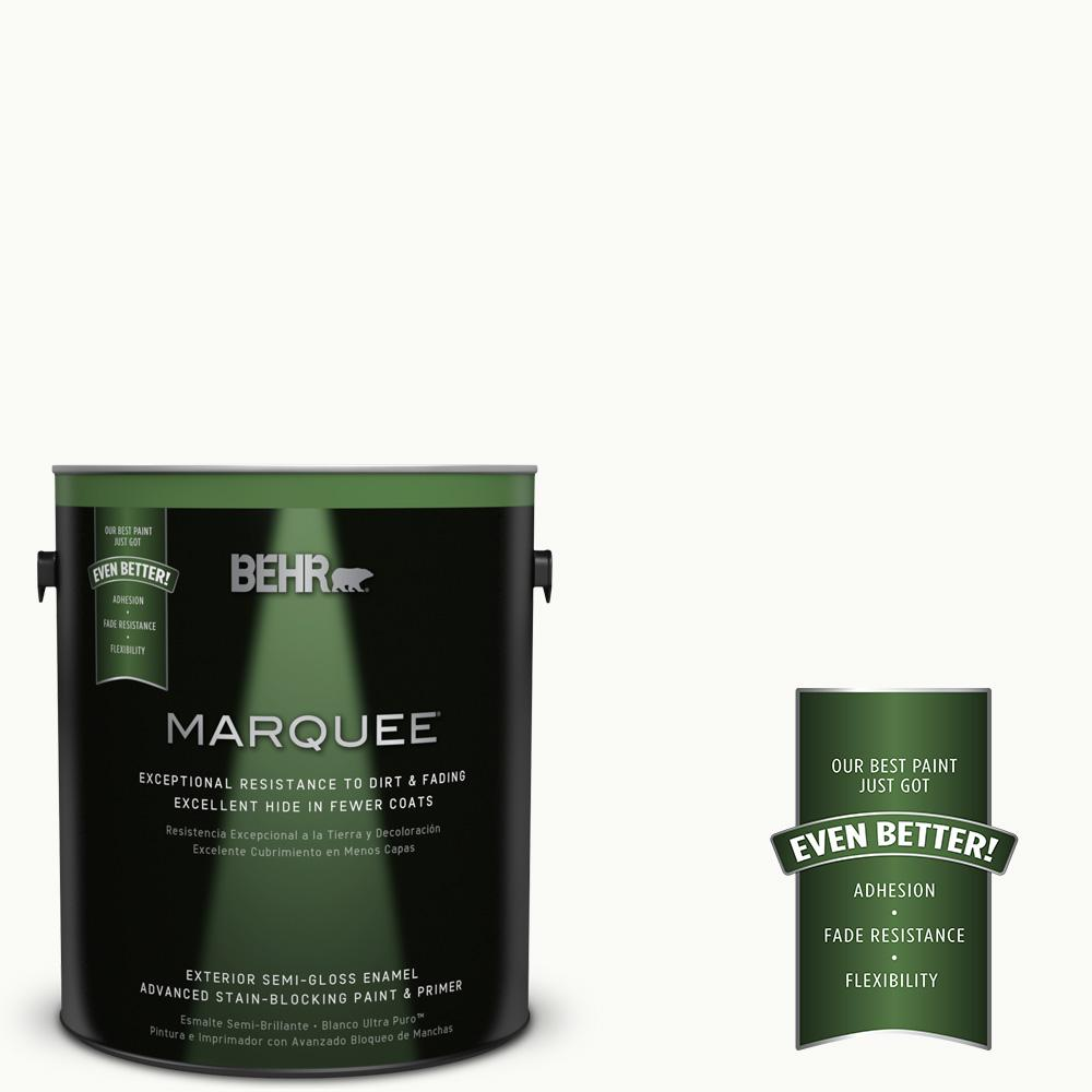 BEHR MARQUEE 1 gal. #PPU18-6 Ultra Pure White Semi-Gloss Enamel Exterior Paint and Primer in One