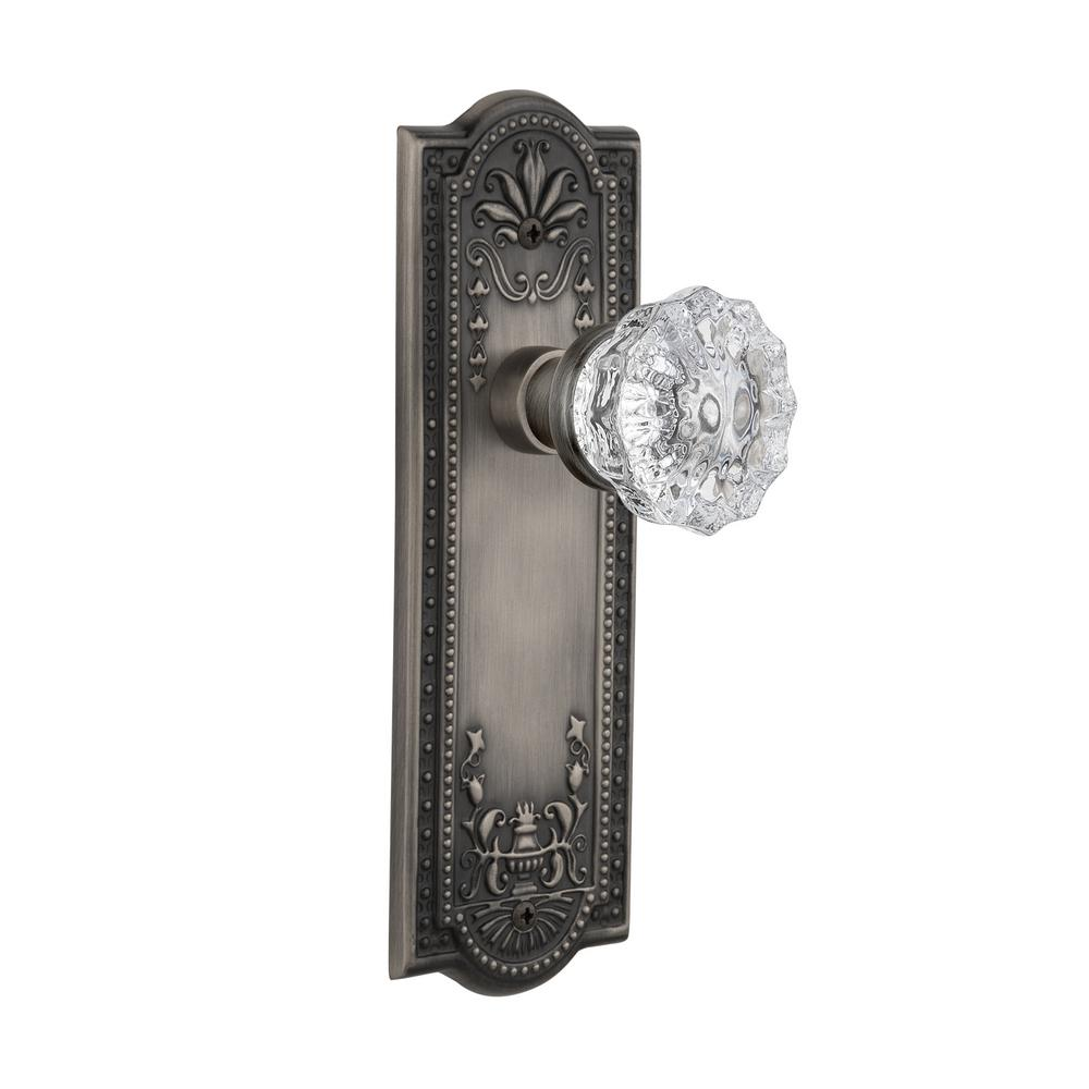 Nostalgic Warehouse Meadows Plate Double Dummy Crystal Glass Door Knob in Antique Pewter