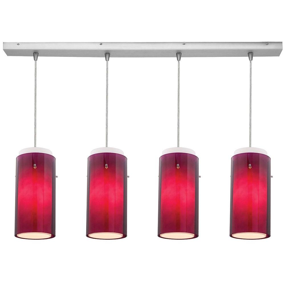Access Lighting 4-Light Pendant Brushed Steel Finish Purple Glass-DISCONTINUED