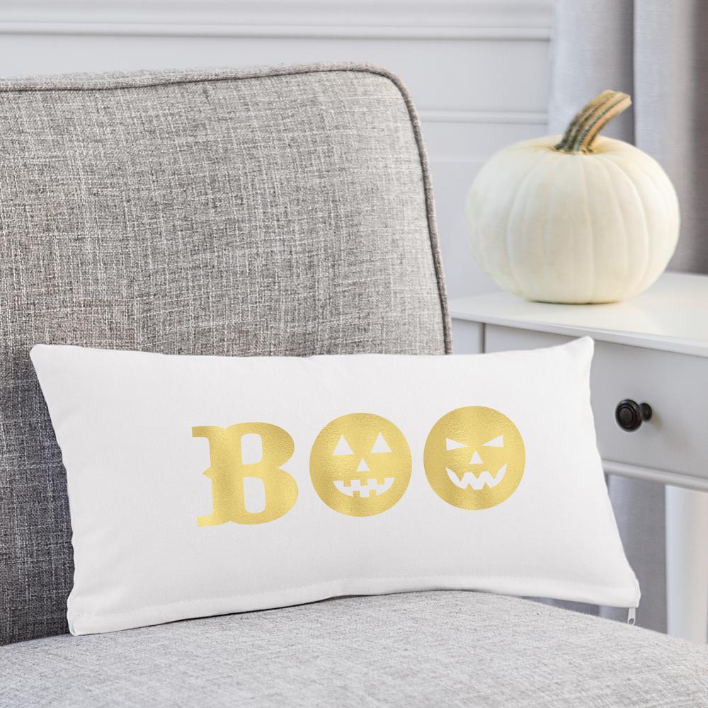 18 in. L x 9 in. W Gold Boo Halloween Lumbar Pillow