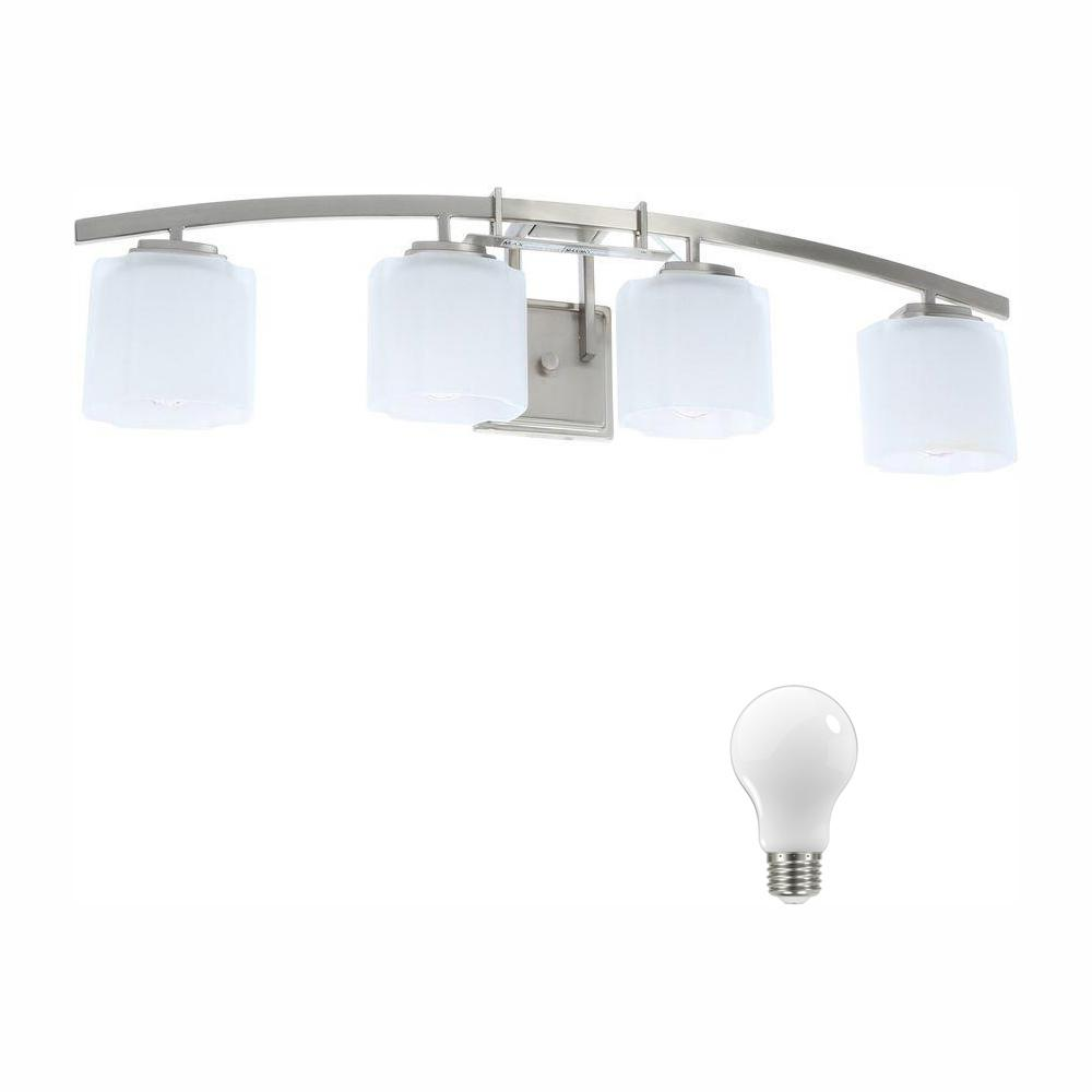 Hampton Bay Architecture 4-Light Brushed Nickel Vanity Light with Etched White Glass Shades, Dimmable LED Daylight Bulbs Included