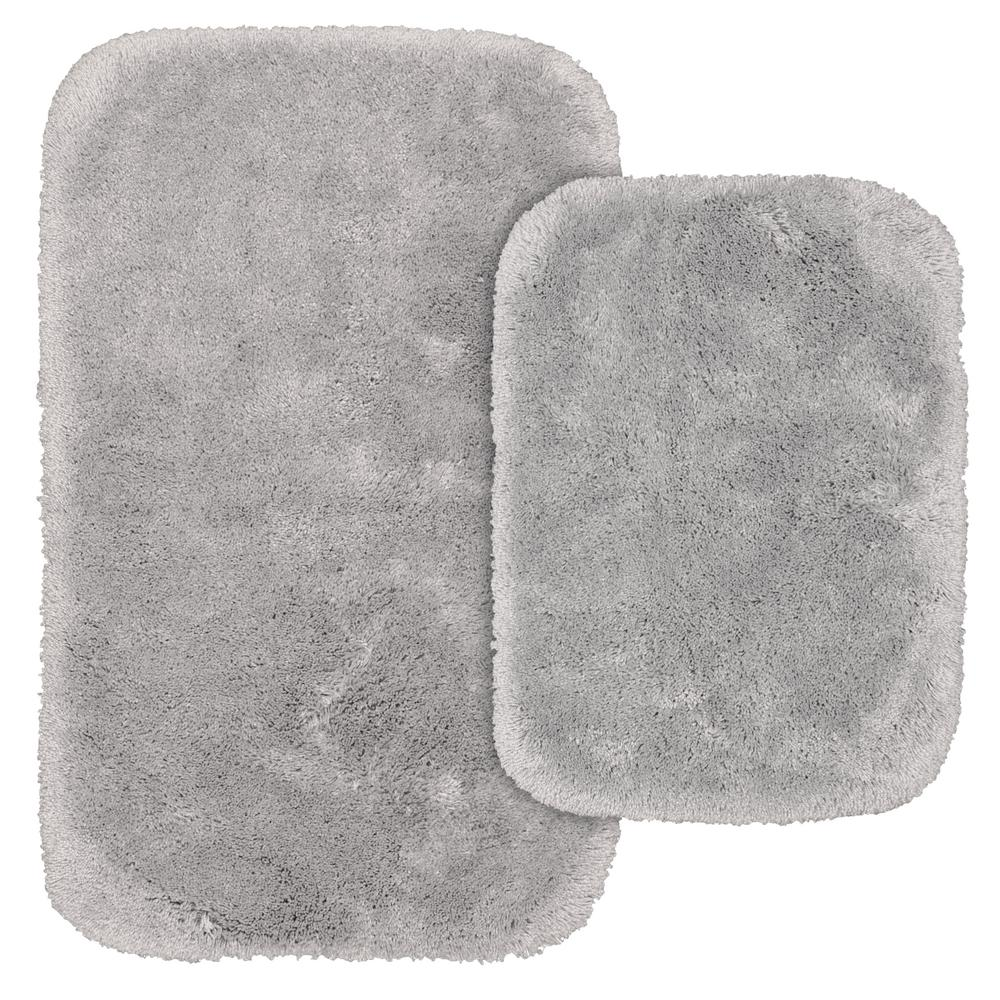 Finest Luxury 2 Piece Washable Bathroom Rug Set In Platinum Gray