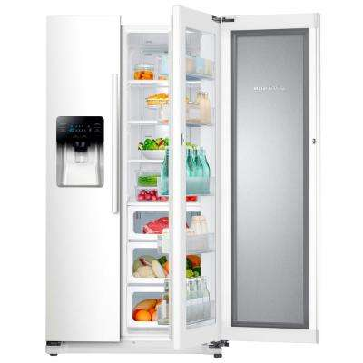 24.7 cu. ft. Side by Side Refrigerator in White with Food Showcase Design
